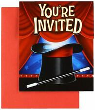 Magic Party Magician Illusion Trick Kids Birthday Party Invitations w/Envelopes