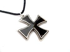 enamelled Pewter Pendant Iron Cross, Black