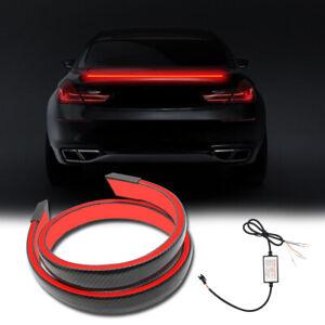 Universal 12v LED Rear Trunk Car Spoiler Lip Tail Wing Lid Carbon Fiber Style