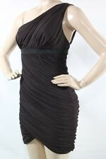 bcbg max aria Dress New Women Chocolate Brown One Shoulder Tulle Ruched  SZ L