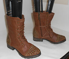 """NEW LADIES Tan 1.5""""Block Heel Sexy Combat Spike Ankle Lace Up Boots Size 10"""