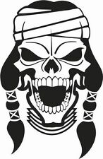 INDIAN SKULL WITH HEADBAND AND PIGTAILS CAR DECAL STICKER