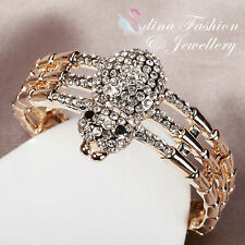 18K Yellow Gold Filled Simulated Diamond Full Studded Stylish Spider Cuff Bangle