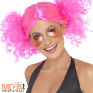80s Pink Bunches Wig Ladies Fancy Dress 1980s Neon Skater Girl Costume Accessory