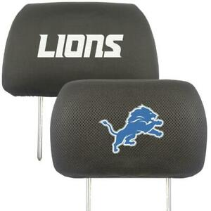 Detroit Lions Embroidered Headrest Cover Pair [NEW] NFL Seat Rest Fanmats
