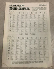 Roland JUNO 106 Sound Samples Sheet ORIGINAL COPY
