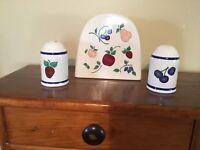 Vintage Princess House Orchard Medley Salt & Pepper Napkin Holder Set Pottery
