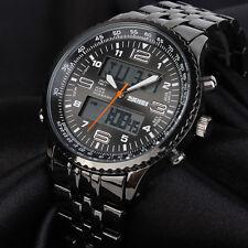 Wasserdicht Uhr LED Herrenuhr Armbanduhr Schwarz Edelstahl Quarzuhr Sportuhr DE
