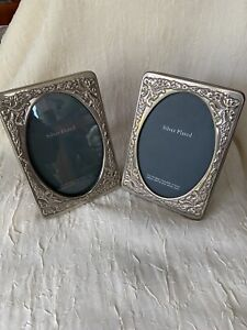 Pair Of Vintage Small Silver Plated  Picture Frames With Embossed Decoration