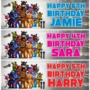 2 Personalised Five Nights At Freddies Birthday Party Banners Decoration Posters