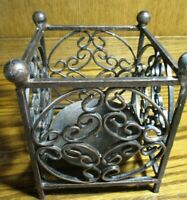 "Wrought Iron Heavy Pillar Ornate Decorative Candle Holder 4.25""x4.25"" Square 509"