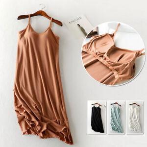 Ribbed Stretchy Built In Bra Wireless Cami Slip Dress Night Lounge Sleepwear