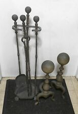 "Antique 4"" Solid Brass Ball Topped Andirons / Iron Ball Fireplace Accessories"