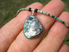 925 Silver Roman Glass Turquoise Pendant Necklace A18 UN655