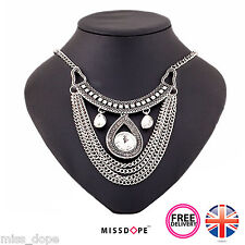 NEW Silver Tassel Drop Gem Necklace Statement Tribal Women Ladies Gypsy Aztec UK