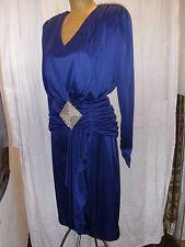 Vintage 1980's Blue Liquid Silky Beaded Cocktail Dress Susan Roselli Size 5/6
