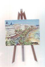 Petite Peinture Sur bois collée sur petit  trepied : Cannes croisette et hotels
