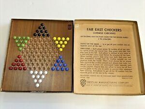 Vintage Far East Chinese Checkers Wood Board Crestline MFG Original Marbles