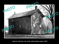 OLD LARGE HISTORIC PHOTO OF JOHNSON NEBRASKA THE RAILROAD DEPOT STATION c1960
