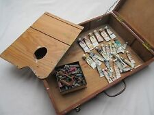 Vintage ? old artisan made wooden artists portable field paint painting box .