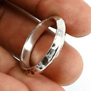 HANDMADE 925 Solid Sterling Silver Jewelry Band Ring Size Q J20