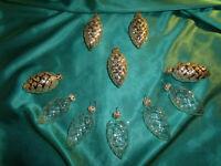 ~ 10 alte Christbaumkugeln Glas Zapfen silber transparent Christbaumschmuck CBS