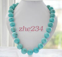 "8/10/12/14mm Natural Blue Turquoise Round Gemstone Beads Necklace 18""AAA"