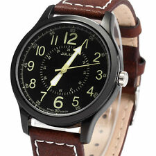 Genuine Leather Band Gloss Men's Analogue Wristwatches