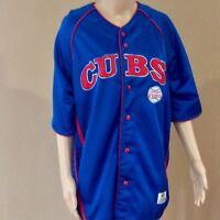 Vintage True Fan MLB Chicago Cubs Large Button Down Baseball Jersey RARE