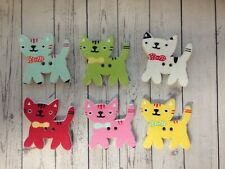 10 Wooden Cat Buttons Sewing Card Making Scrapbook Craft Embellishments