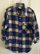 Boys Vtg Baby Guess Flannel Blue Plaid Button Front Shirt Long Sleeve Size M