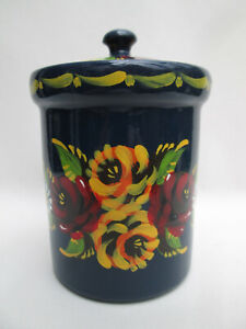 1 x Navy Blue Canal Ware Hand Painted Terracotta Pot with Lid Barge Ware