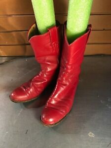 Women's Justin Red Leather Cowboy Boots- Size: 7.5B
