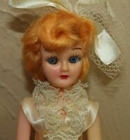 """Vtg Hollow Plastic 7.5"""" BRIDE or COMMUNION Sleepy Eyes Doll of All Lands Nations"""
