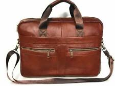 Laptop Bag Real Leather Briefcase Messenger Shoulder Office Brown Women Men