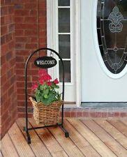 mimbre mimbre Welcome libre de pie maceta para plantas PATIO PORCHE Jardín wwp