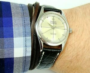 RARE UNIVERSAL GENEVE POLEROUTER 215 FIRST MICROTOR 1958 ORIGINAL DIAL, SERVICED