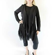 NEW Jessica Taylor Plus Size Black Tunic Blouse w/ Open Front Lace Cardigan 2X
