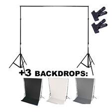 Profi Hintergrund system + 3x Hintergrund 5m ( schwarz + grau + weiß ) +Klammern