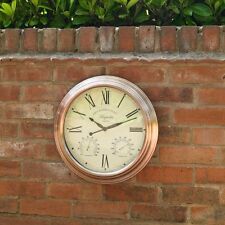 "15"" Outdoor Copper Effect Garden Wall Clock With Thermometer & Humidity Dials"