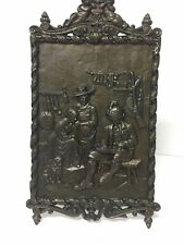 Vintage Bronze Cast Plaque ~Man Playing Zither/Dulcimer- 2 Ladies & Dog ~ST31