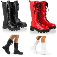 Womens Chunky Sole Knee High Boots Ladies Shiny Pu Lace Up Zip Goth Biker Shoes