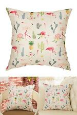 Pink Flamingo Pineapple Cactus Cotton Linen Home Decorative Throw Pillow Cover