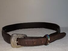 VINTAGE TONY LAMA CONCHO SOUTHWESTERN EMBROIDERED LEATHER BELT SZ 32