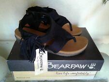 Bearpaw Women's Black Avril Fringe Wedge Sandal Size 7M