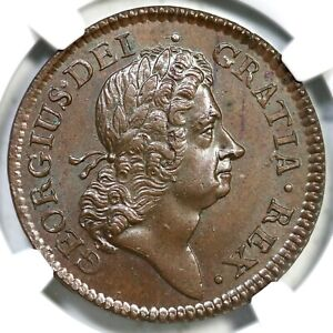 1723 W-13470 NGC MS 65 BN Wood's Hibernia Half Penny Colonial Copper Coin