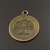 4 Pieces Antiqued Bronze Alloy 3D Circle Trojans Horse Charms Pendants 50107