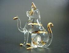 Glass CAT, KITTEN, Golden Stripy CAT, Animal, Ornament, Blown Glass Figure, Gift