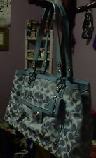 Coach Metallic Blue Purse Patton Leather Straps