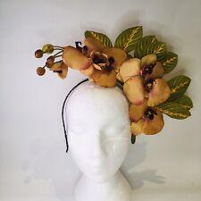 Tan Orchid Fascinator   Headband Weddings Spring Races Melbourne Cup